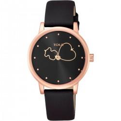 Reloj Bear Time de acero IP rosado